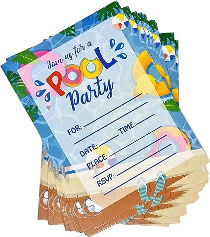 36 Pool Party Invitations With Envelopes Swim Birthday Invite Cards Kids Splish Splash Water Swimming Party Invitation For Girl Boy Summer Bash
