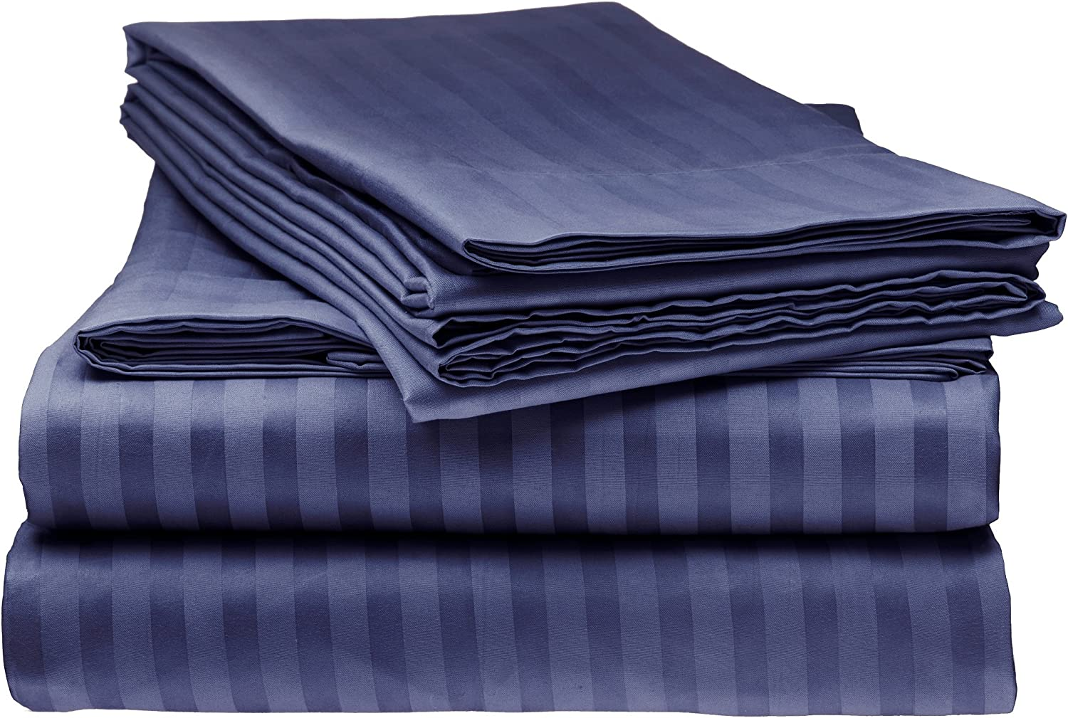 Italian Prestige Collection Bed Sheet Set – 1800 Luxury Soft Microfiber Hypoallergenic Deep Pocket 4-Piece Bedding Set - Wrinkle, Stain, Fade Resistant - Navy, King Size