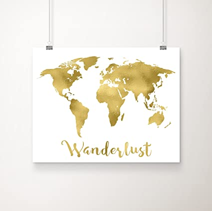 Amazon wanderlust world map gold foil art print 11 inches x 14 wanderlust world map gold foil art print 11 inches x 14 inches gumiabroncs