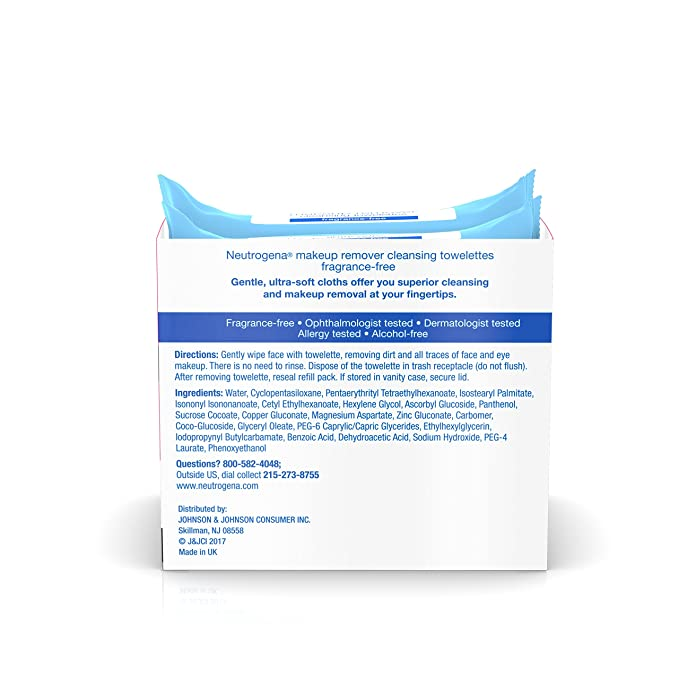 Neutrogena maquillaje Remover Limpieza Toallitas towelettes cartucho, sin aroma, 25 Count, 2 paquetes (1 unidades): Amazon.es: Belleza