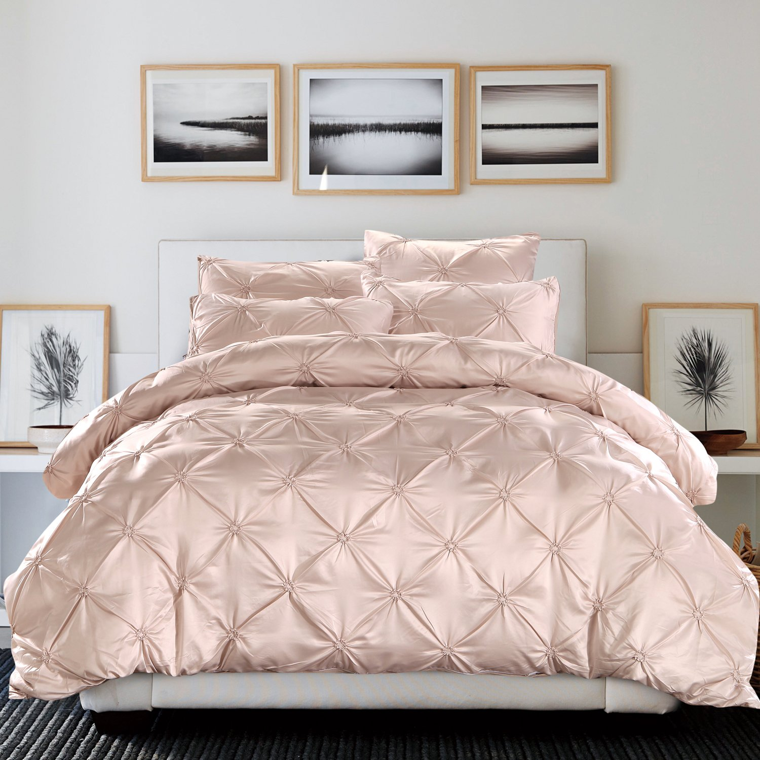 beige bedding sets and comforters – ease bedding with style - tencel cotton queen size luxurious pinch pleat decorative pintuck beddingset beige