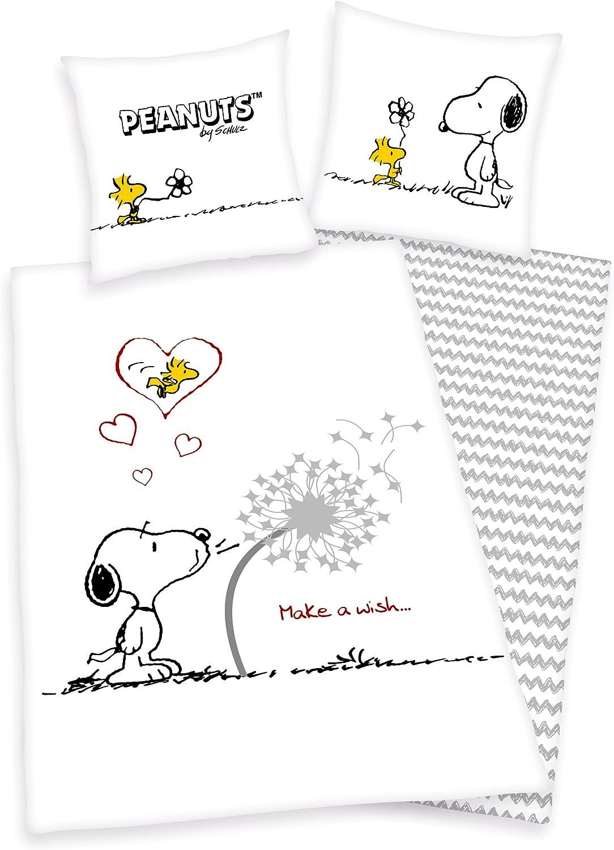Parure de lit Snoopy Peanuts Snoopy 80/x 80/135/x 200/cm 100/% coton avec fermeture /Éclair
