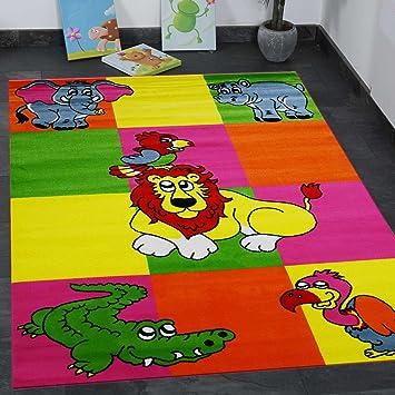 Kinderteppich Modern Zoo Kinder Teppich Löwe Krokodil in Bunte ...