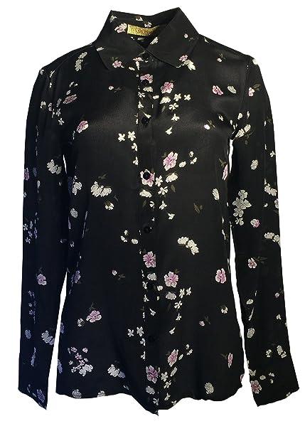 ANA PIRES MILANO Camisa Anja, Mujer, 100% Seda, Camisa, Fantasía Flores; Talla 40: Amazon.es: Ropa y accesorios