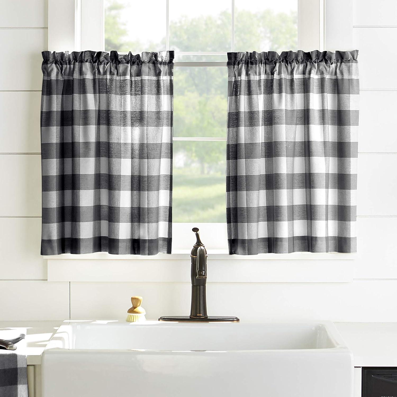 "Elrene Home Fashions Farmhouse Living Buffalo Check Window Kitchen Tier Set, 30"" x 24""(Set of 2, Black/White, 2 Pieces"