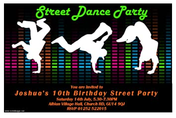 10 Personalised Street Dance Party Invitations N104: Amazon.co.uk ...