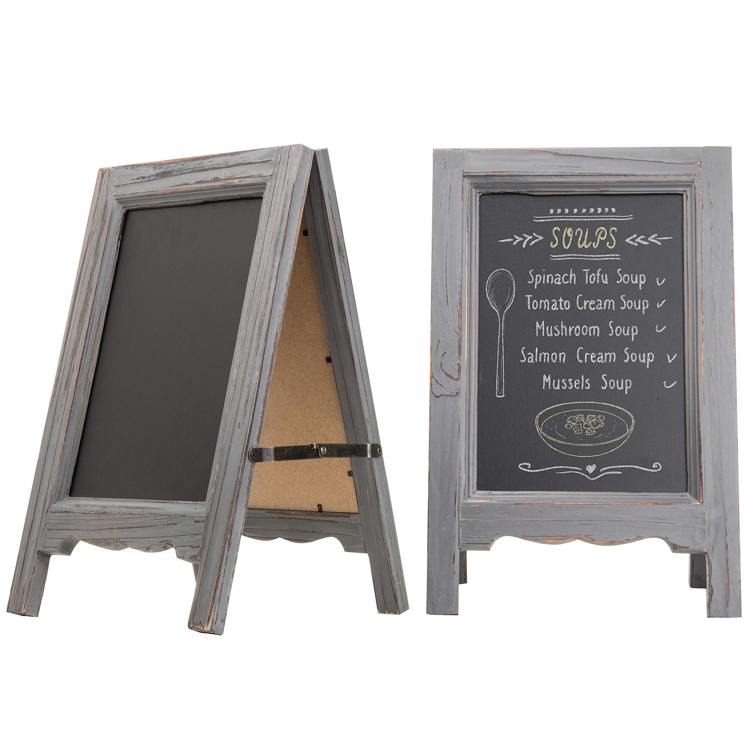MyGift Set of 2 15-inch Mini Tabletop Gray Wood A-Frame Double-Sided Chalkboard Sign Easel