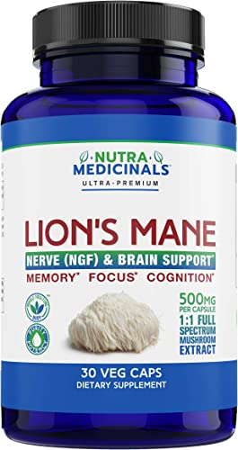 NutraMedicinals Lion s Mane Mushroom Capsules Nerve NGF Brain Support Natural Nootropic Supplement for Memory, Focus Cognition Non-GMO, Vegan, Organic 30 Caps, 1 1 Extract