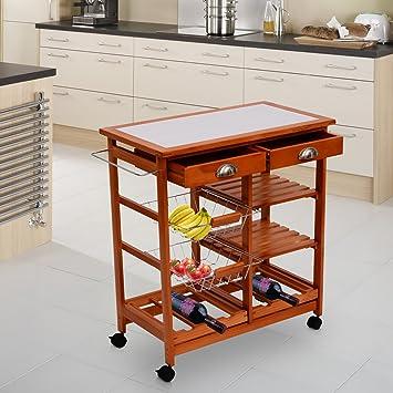 homcom carrellino carrello per cucina in legnometallo con 4 ruote e cassetti