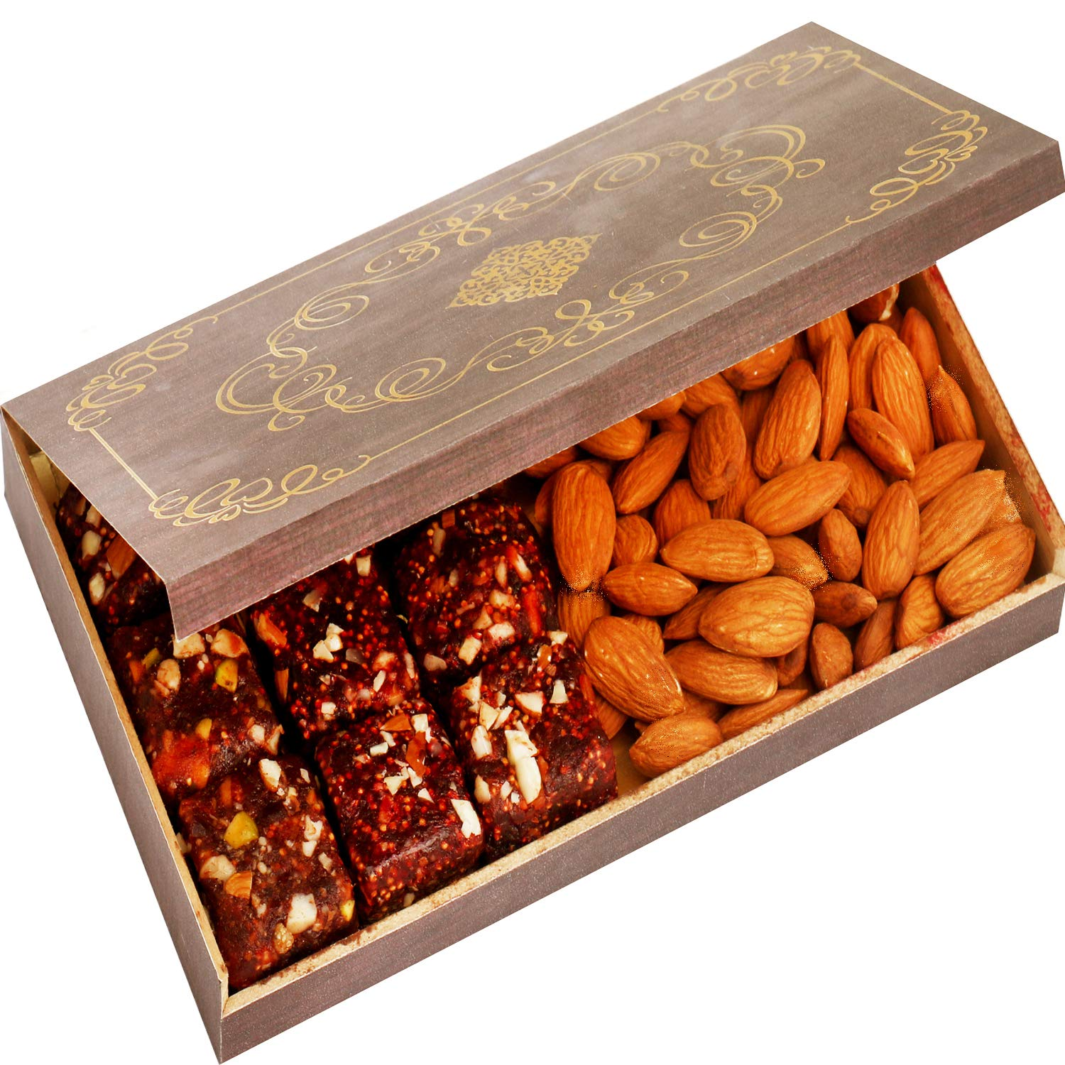 Ghasitaram Gifts Diwali Gifts Healthy Hampers - Wooden 9 Pcs Sugarfree Dates and Figs Bites and Almonds Box