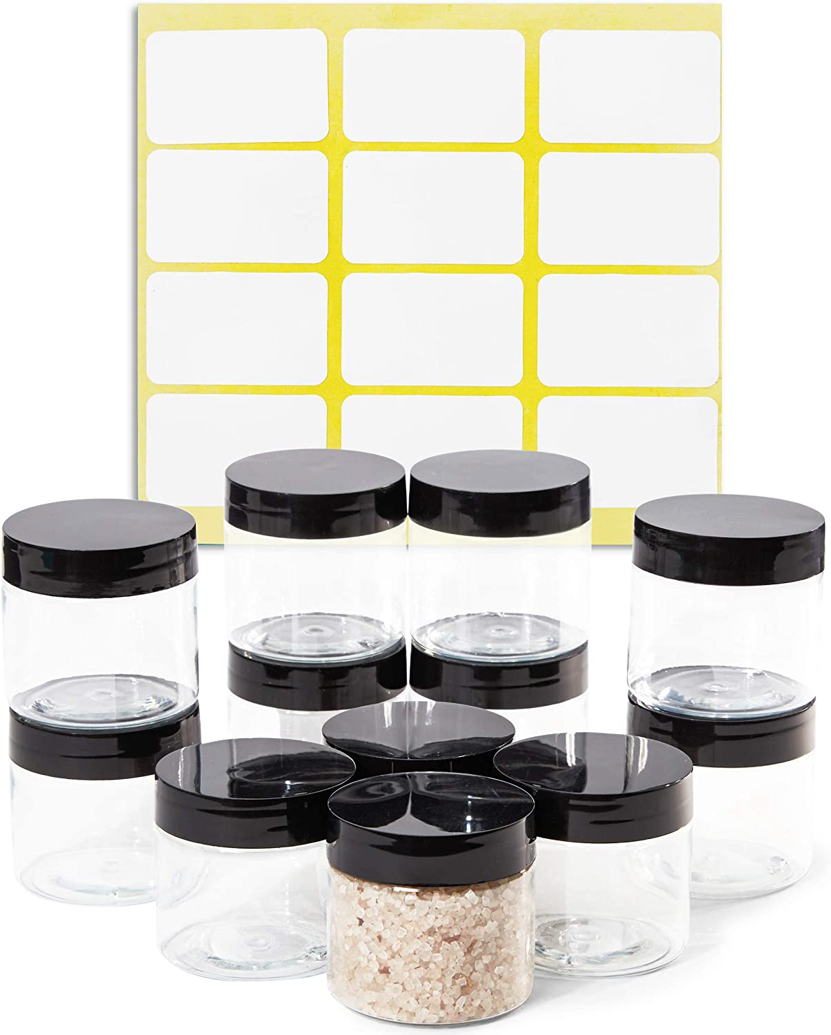 Clear Round Plastic Jars with Black Lids and Labels (2 oz, 12 Pack)