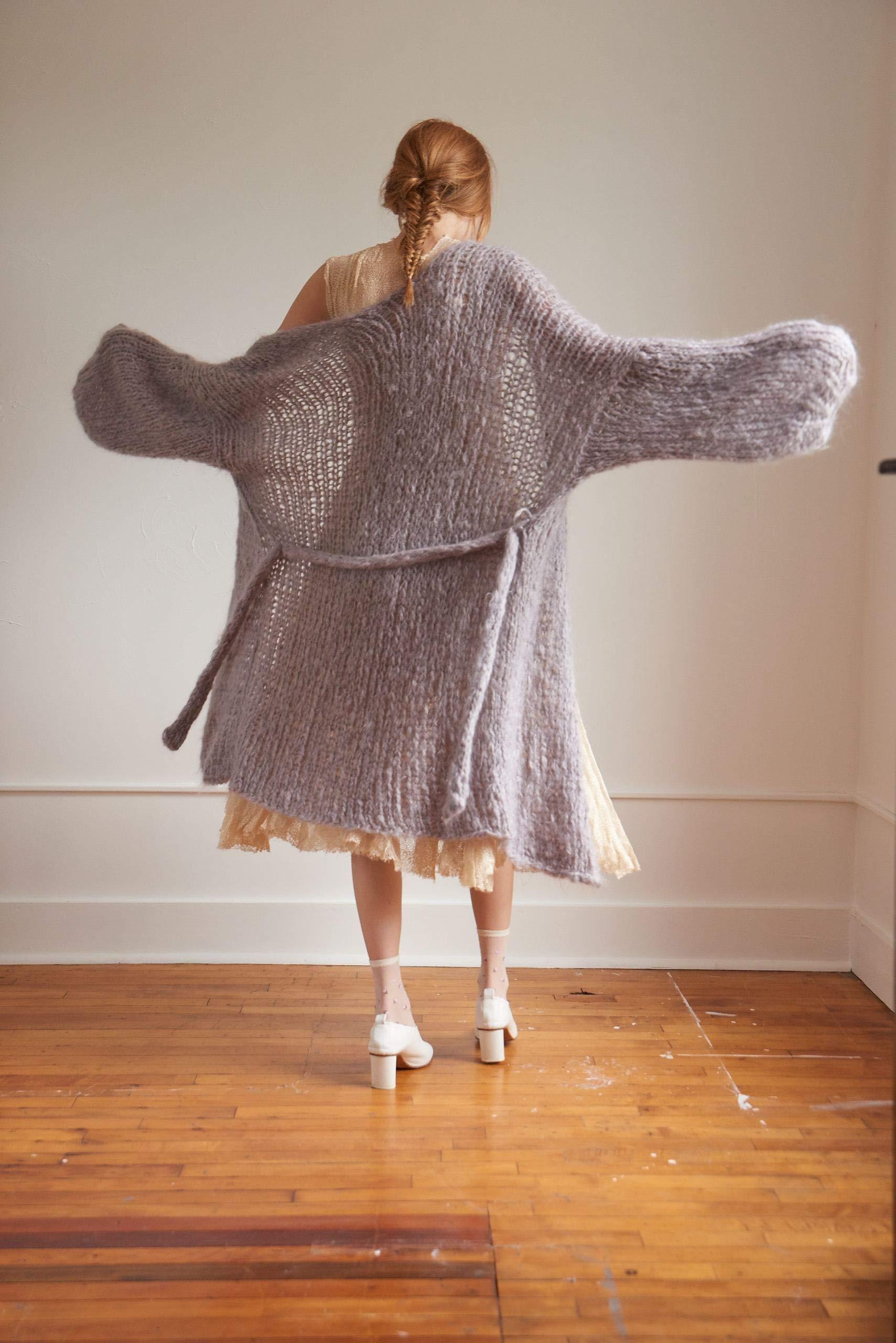 Loopy Mango DIY Knit Kit - Medium/Large Long Cardigan - Mohair So Soft (Moss) by Loopy Mango (Image #4)