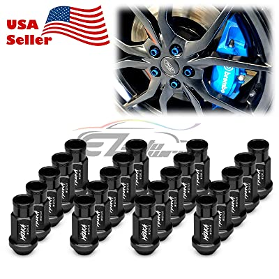 EZAUTOWRAP Black 20 PCS M12x1.25 Lug Nuts Short 50mm Tuner Open End Aluminum Wheels Rims Cap WN01: Automotive