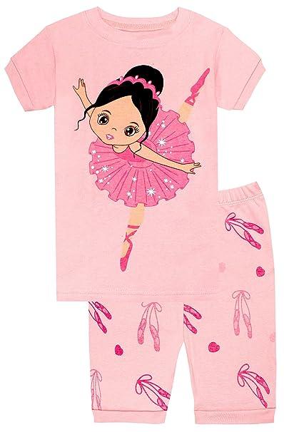 Elowel Bailarina Conjunto de Pijamas Cortos de 2 Piezas para Ninas 100% de Algodon (