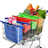 Glotoch Reusable Trolley Bags For Shopping Cart 4 Pack Shopping Cart Bags Reusable Grocery Bags for Trolley Carts Shopping Ba