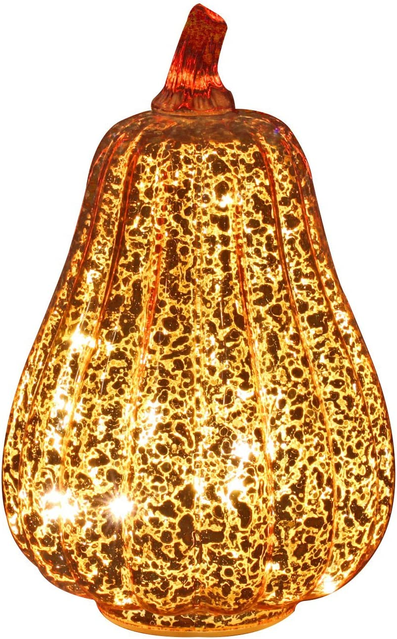 Romingo Mercury Glass Pumpkin Light with Timer for Halloween Pumpkin Decorations Fall and Thanksgiving Decor,Gold, 8.7 inches
