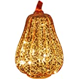Romingo Mercury Glass Pumpkin Light with Timer for Halloween Pumpkin Decorations Fall Decor,Gold, 8.7 inches