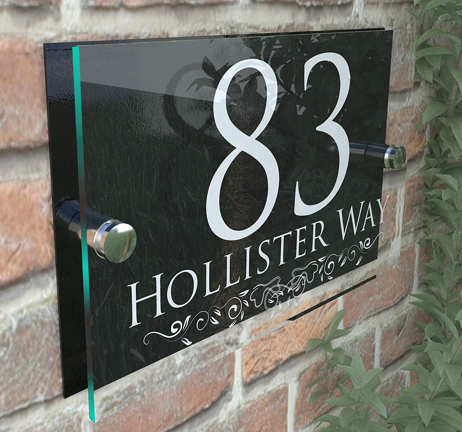 DECORATIVE PERSONALISED WALL PLAQUE DOOR NUMBER STREET GLASS EFFECT ACRYLIC ALUMINIUM NAME - White & Black K Smart Sign Ltd