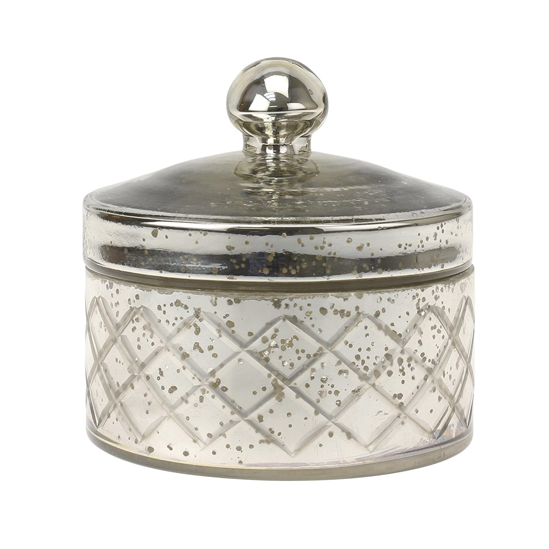 Stonebriar Antique Mercury Glass Storage Container with Lid, Decorative Jar for Cotton Ball or Cotton Swab Storage, Unique Keepsake or Trinket Box, Elegant Jewelry Box