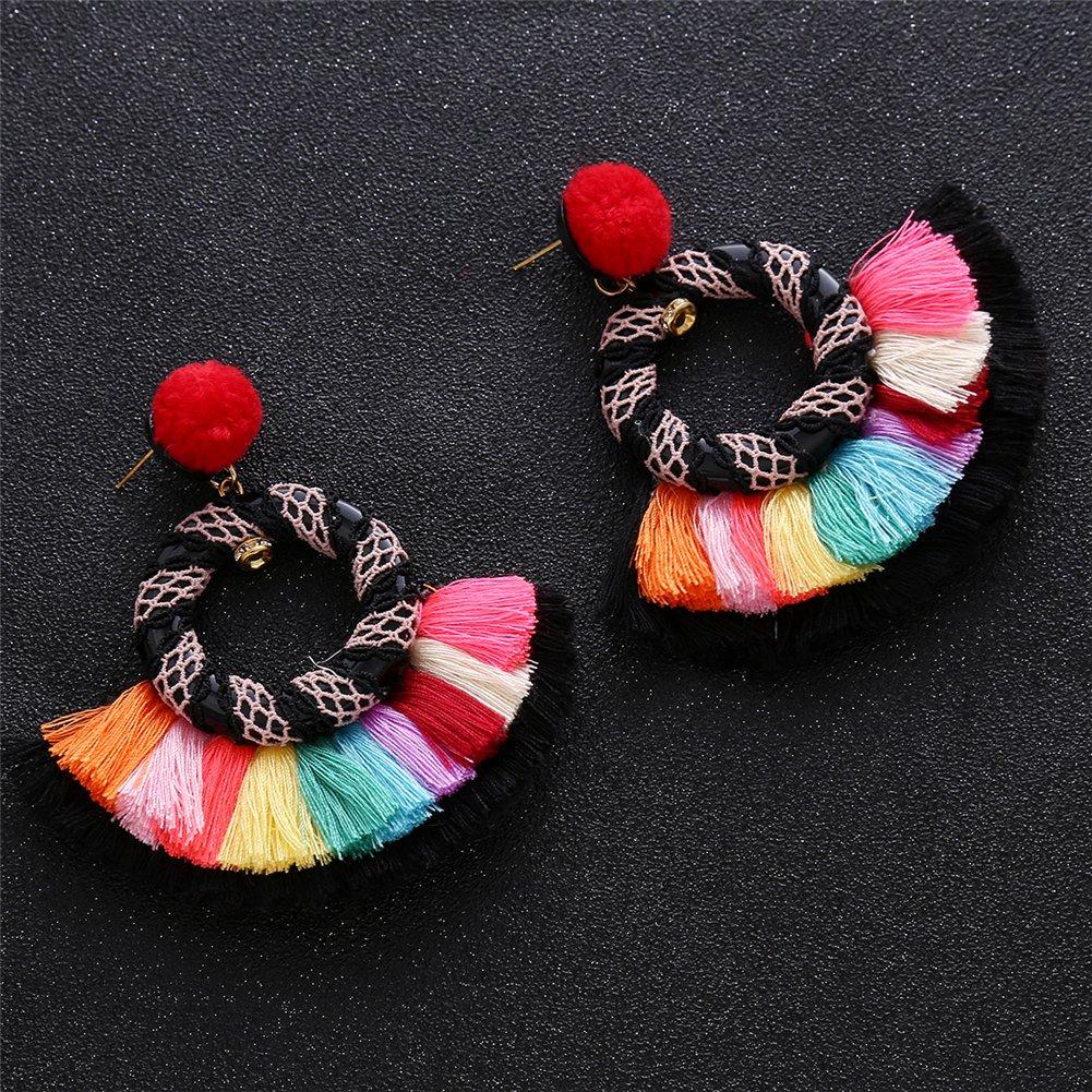 Aibelly Bohemian Ethnic Tassel Statement Big Hoop Dangle Drop Earrings New Fashion Handmade Thread Pom Pom Hairball Stud Earrings for Woman Girls
