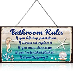 10 x 5 Inch Metal Hanging Vintage Design Seashells Bathroom Rules Door Wall Plaque Decor Sign with Diamond-Studded Starfish, If It Smells Spray It. Sign Plaque Metal Wall Decorative Metal Sign