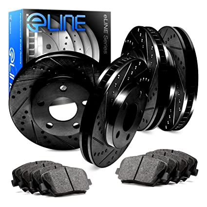 Front Discs Brake Rotors and Ceramic Pads For Acura RSX 2002-2006 Drill Slot
