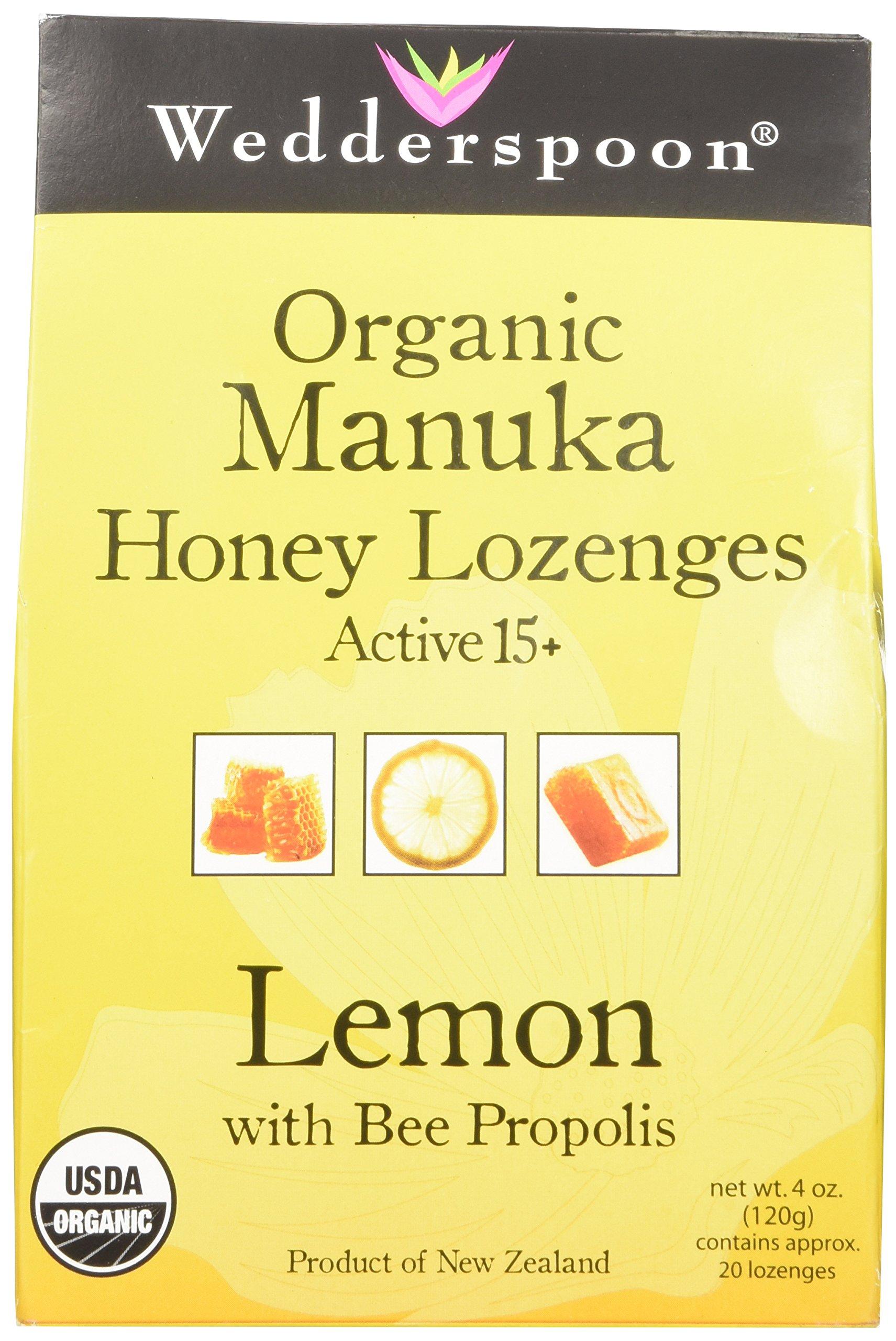 Wedderspoon Organic Manuka Honey Lozenges with Lemon and Bee Propolis, 4 Ounce