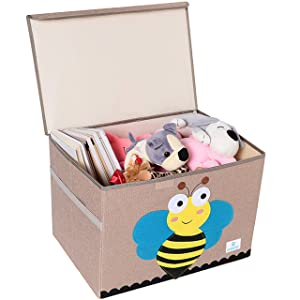 BEARCUBS Kids Foldable Toy Chest - Storage and Organization Toy Box with Lid Organizer Trunk for Nursery Playroom - Cute Animal Decor for Boys and Girls Large Toy Bin (Bee)
