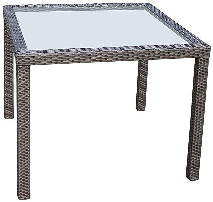 Polyrattan Tisch 90x90.Ambientehome Polyrattan Tisch Inkl Glasplatte Esstisch Tunis Gold Braun Ca 90 X 90 Cm