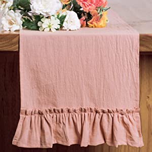 Letjolt Pink Table Runner Cotton Table Runner Ruffle Rustic Fabric Decor Spring Wedding Baby Shower Home Kitchen Birthday Party, Blush Pink 12x72 Inches