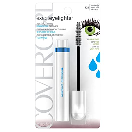 CoverGirl Exact EyeLights Waterproof Mascara, Black Ruby 725 (for Green Eyes), 0.24