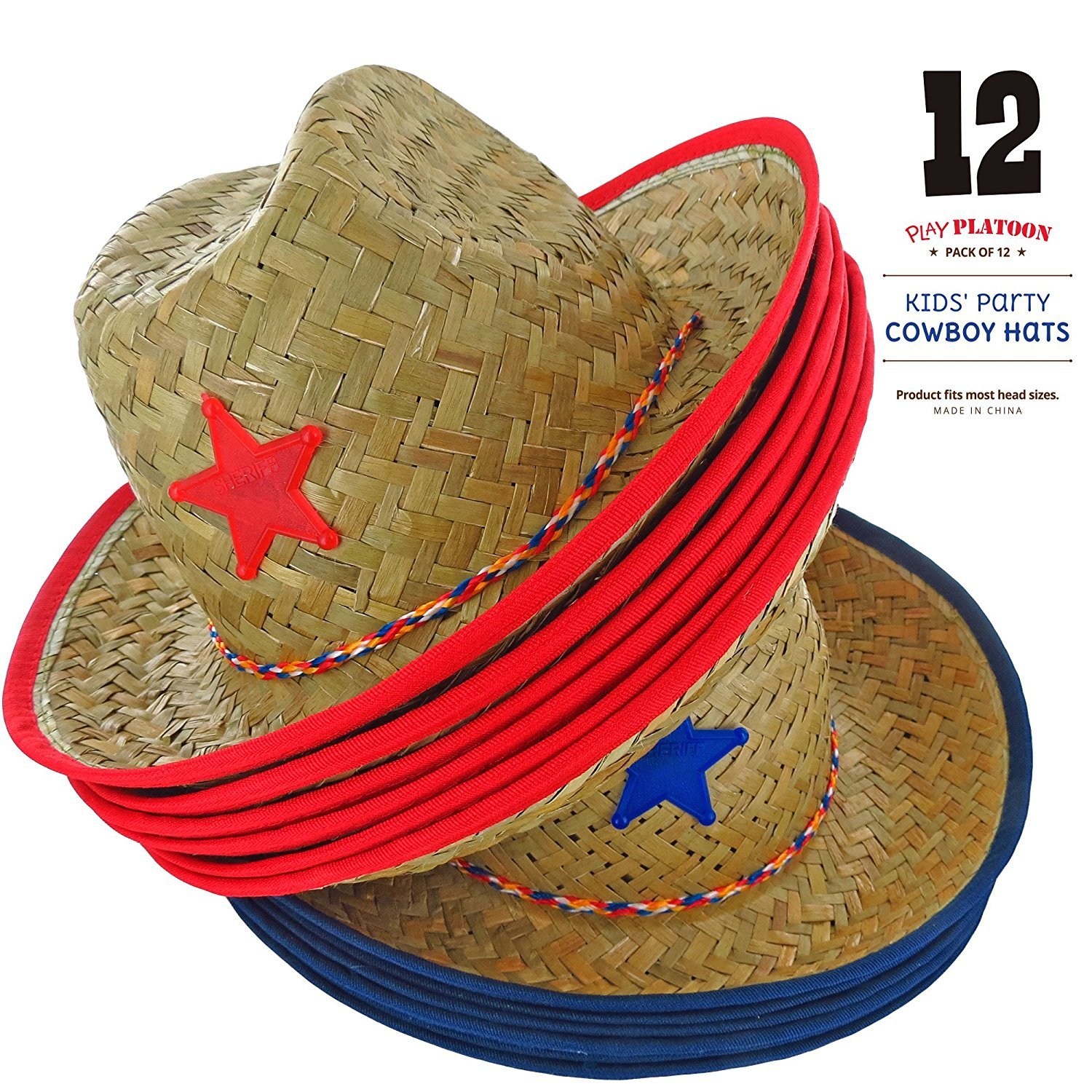 8fedd351890 Amazon.com  Dozen Straw Cowboy Hats for Kids - Makes Great Birthday Party  Hats for Boys and Girls  Toys   Games