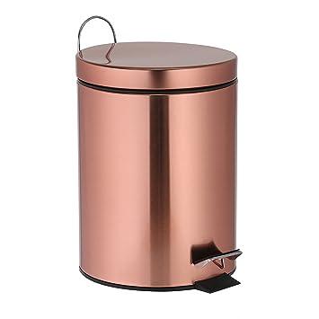 Treteimer 3 Liter Kupfer Mülleimer Als Abfalleimer, Kosmetikeimer Für  Badezimmer + Küche Aus Metall Glänzend Awesome Ideas