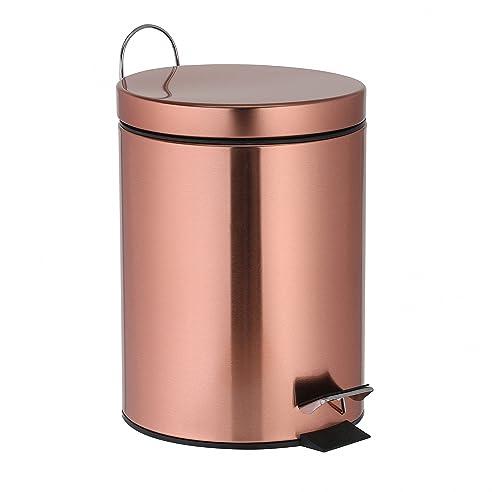 Treteimer 3 Liter Kupfer Mülleimer Als Abfalleimer, Kosmetikeimer Für  Badezimmer + Küche Aus Metall Glänzend