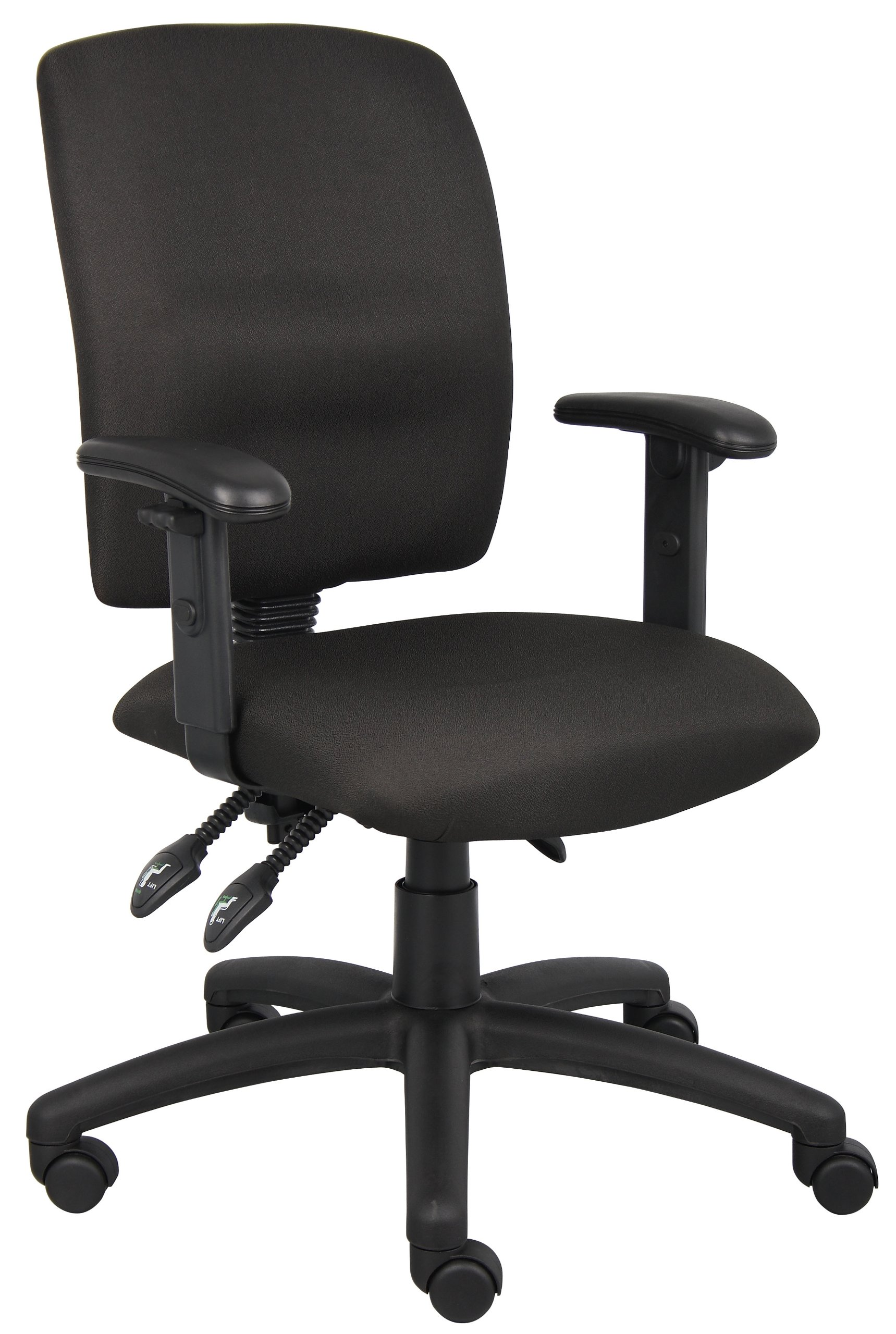 Boss Office Products B3036-BK Multi-Function Fabric Task Chair with Adjustable Arms in Black