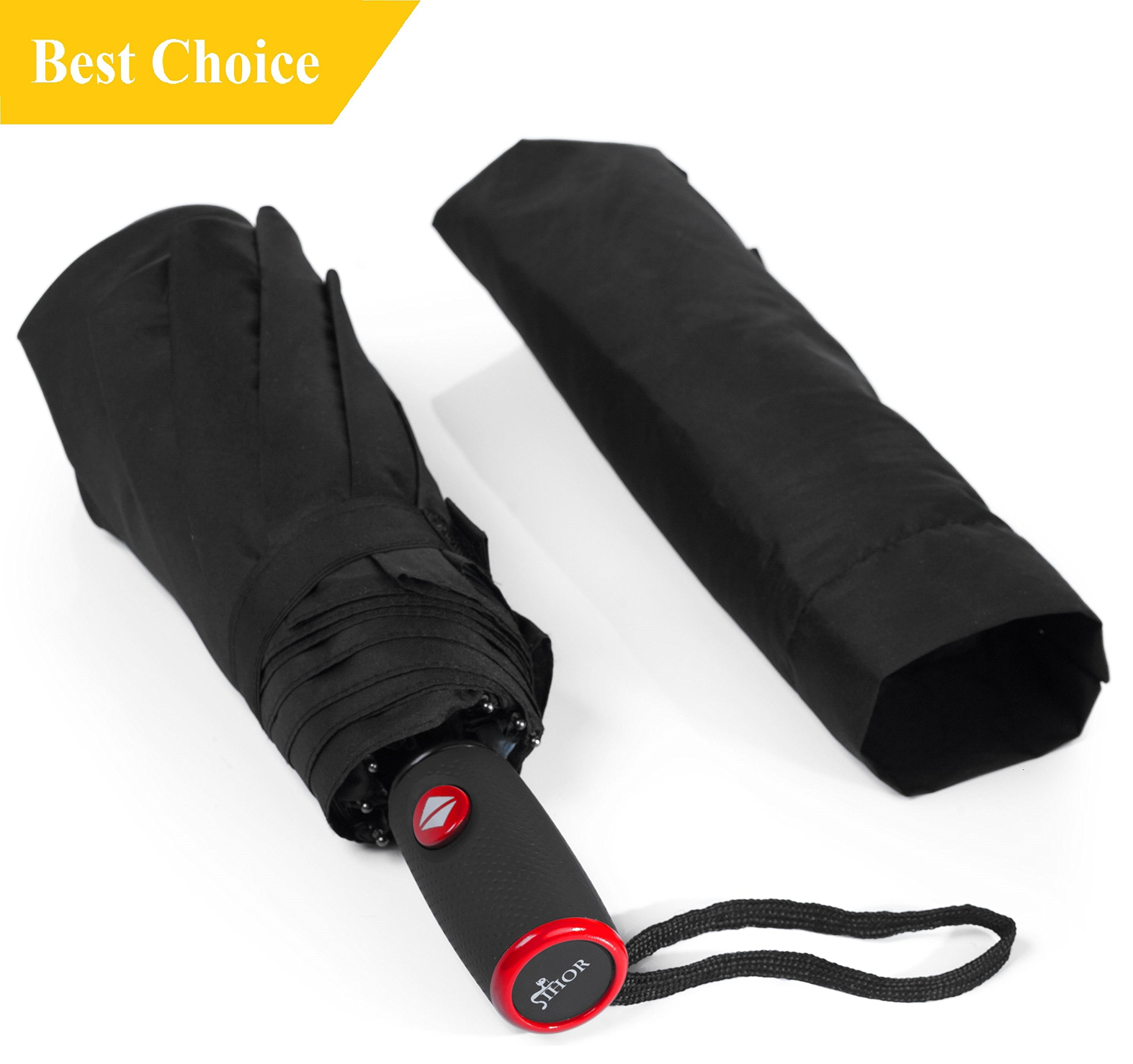 IHOR Best Small Automatic Open & Close Travel Totes Wind-Resistant Portable Compact Windproof Black Umbrella Easy Touch & Strong Micro Mini Male & Female by IHOR