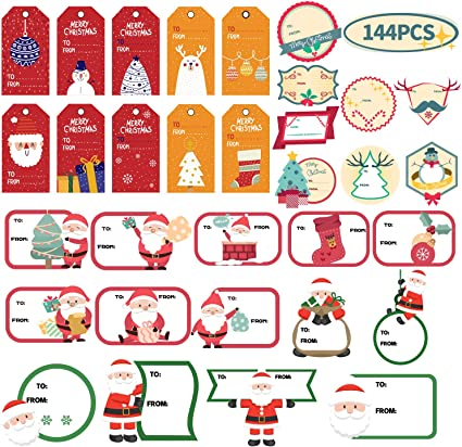400-Count Christmas Gift Tag Label Sticker with to and from for Holiday Gift Box
