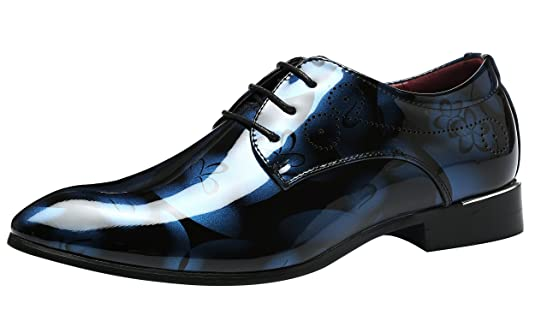 Schuhe Herren Derby Rahmengenähter Schnürhalbschuh Lackleder Oxford Schnürung Modische schuhe Männer Gelb 44 EU aqDTDFY1ZU