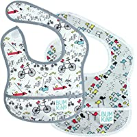 Bumkins Waterproof Starter Bib 2 Pack, Neutral (N15-Urban Bird/Bird Park) (4-9 Months)