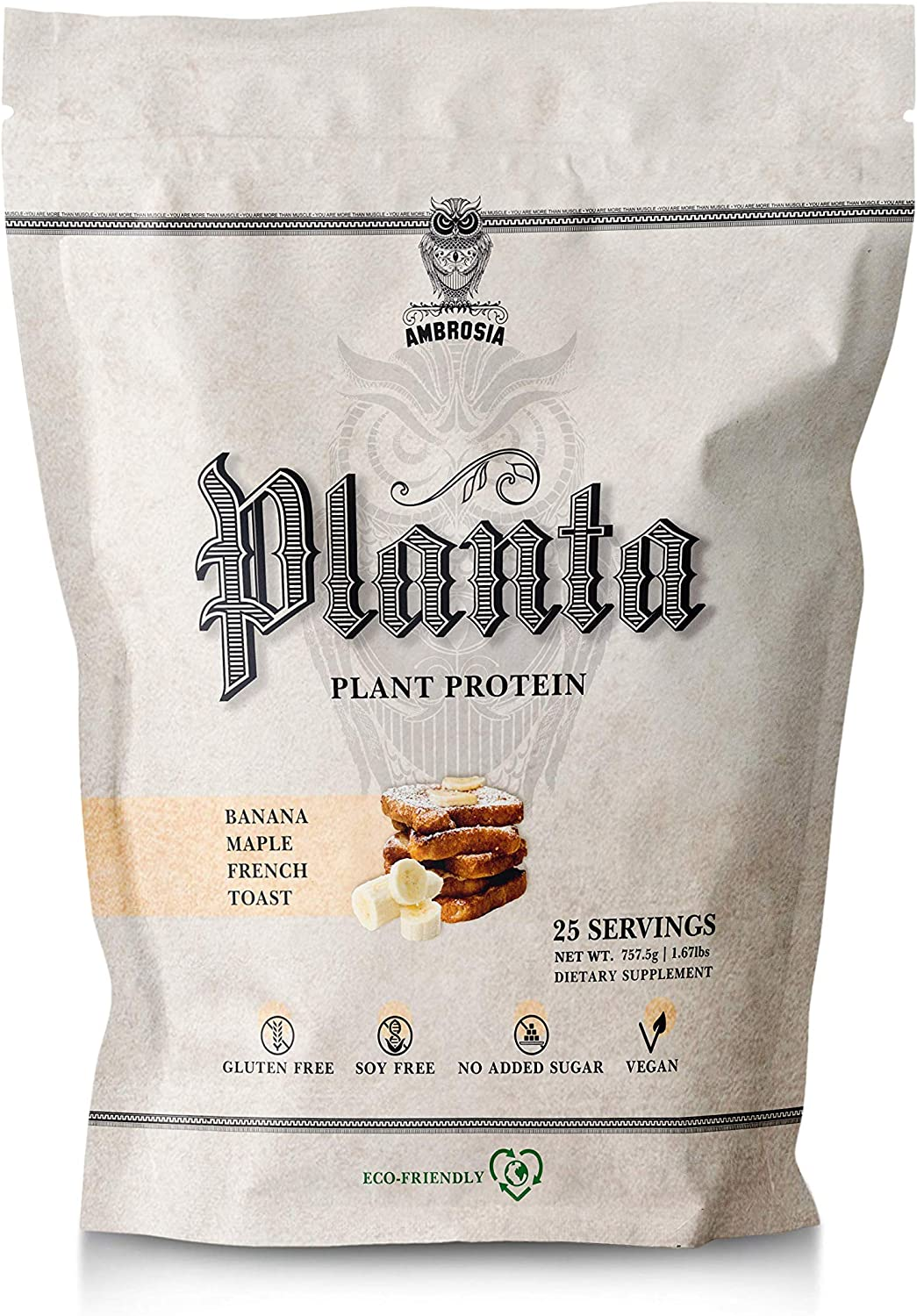 Ambrosia Planta – Premium Organic Plant-Based Protein Vegan Keto Friendly Gourmet Flavors with No Bloating or Stomach Upset Gluten Soy Free No Added Sugar 25 Servings Banana Maple