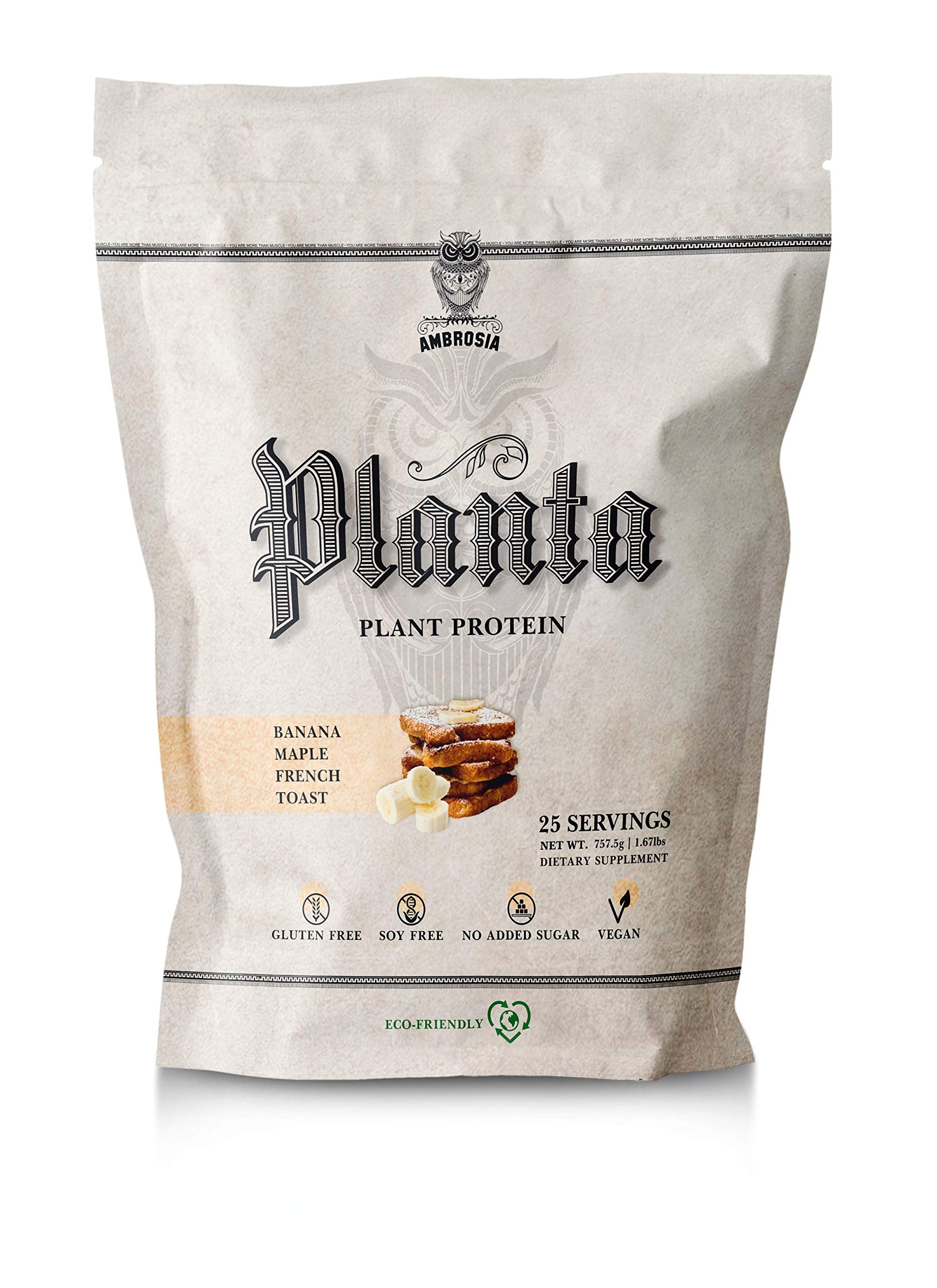Ambrosia Planta - Premium Organic Plant-Based Protein | Vegan & Keto Friendly | Gourmet Flavors with No Bloating or Stomach Upset | Gluten & Soy Free | No Added Sugar | 25 Servings | Banana Maple by Ambrosia