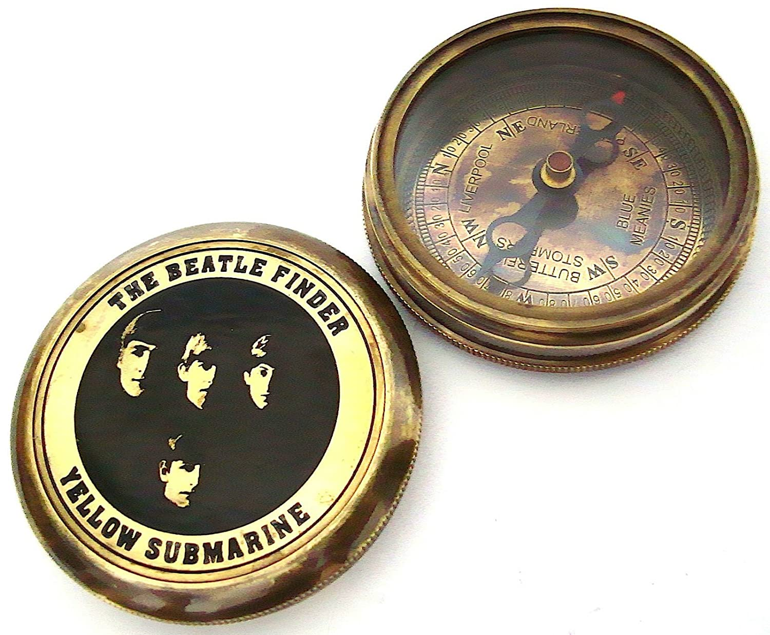 The Beatle Finder Compass Gelb Submarine - Collectible Beatle Compass with Leder Case