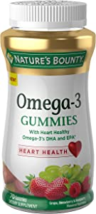 Nature's Bounty Omega-3, 70 Gummies, Fruit Flavored Gummy Dietary Supplements for Adults
