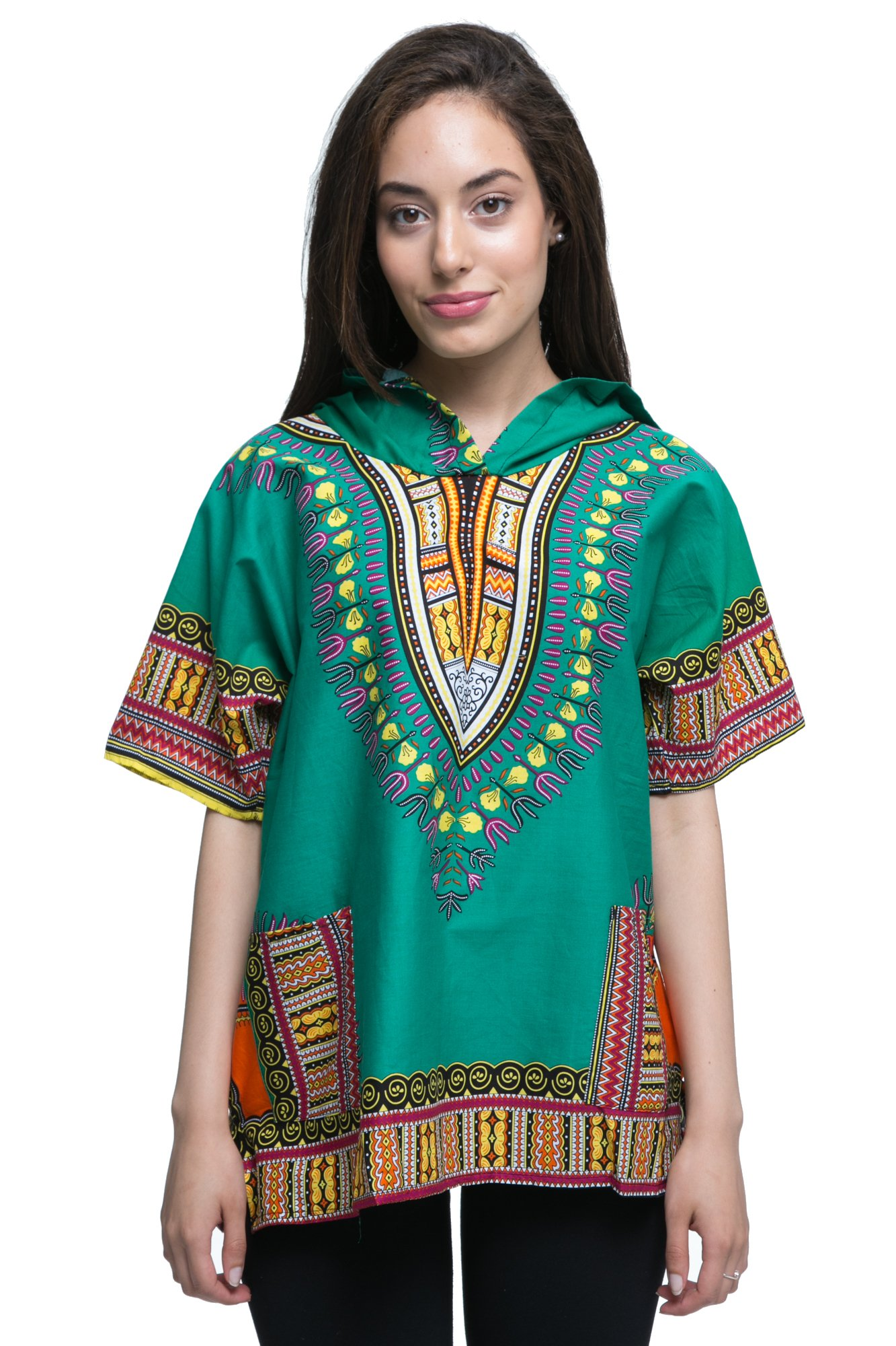 Traditional African Dashiki Top With The Hoodie (Medium, Green)