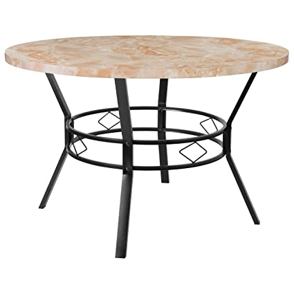 Amazon Com Tremont 47 Round Dining Table Quartz Marble Tables