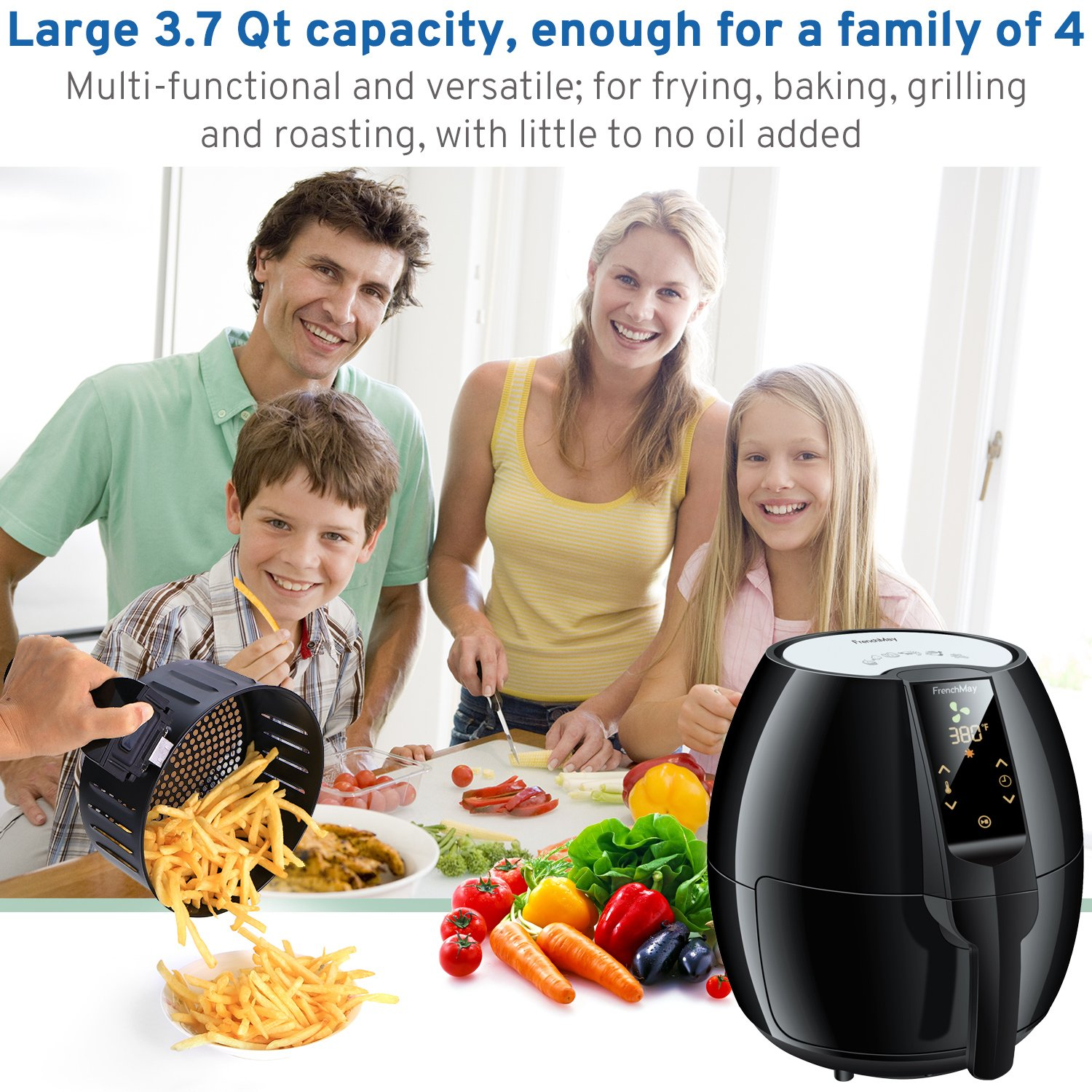 FrenchMay Touch Control Air Fryer, 3.7Qt 1500W, Comes with Recipes Cook Book Black