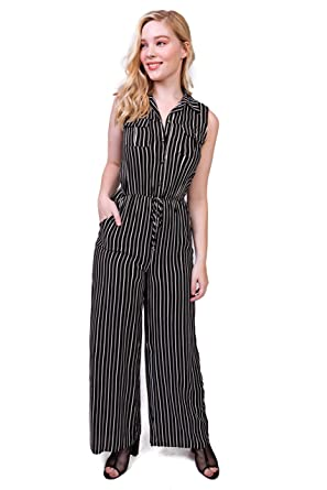250fc8034887 Amazon.com  Bebop Women s Challis Sleeveless Collared Button Front Shirt  Top Utility Wide Leg Palazzo Jumpsuit  Clothing