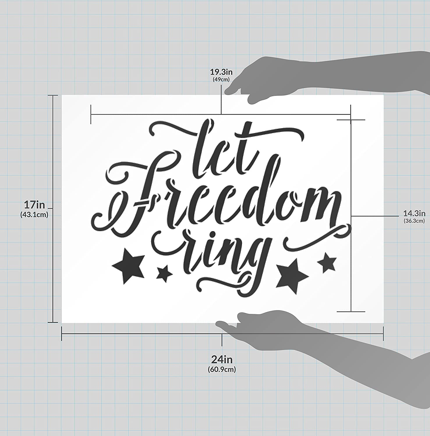 c53d525509a0e Let Freedom Ring Stencil with Stars by StudioR12 Script Style Reusable Word  Template for Painting on Wood DIY Home and Porch Decor Patriotic Americana  ...