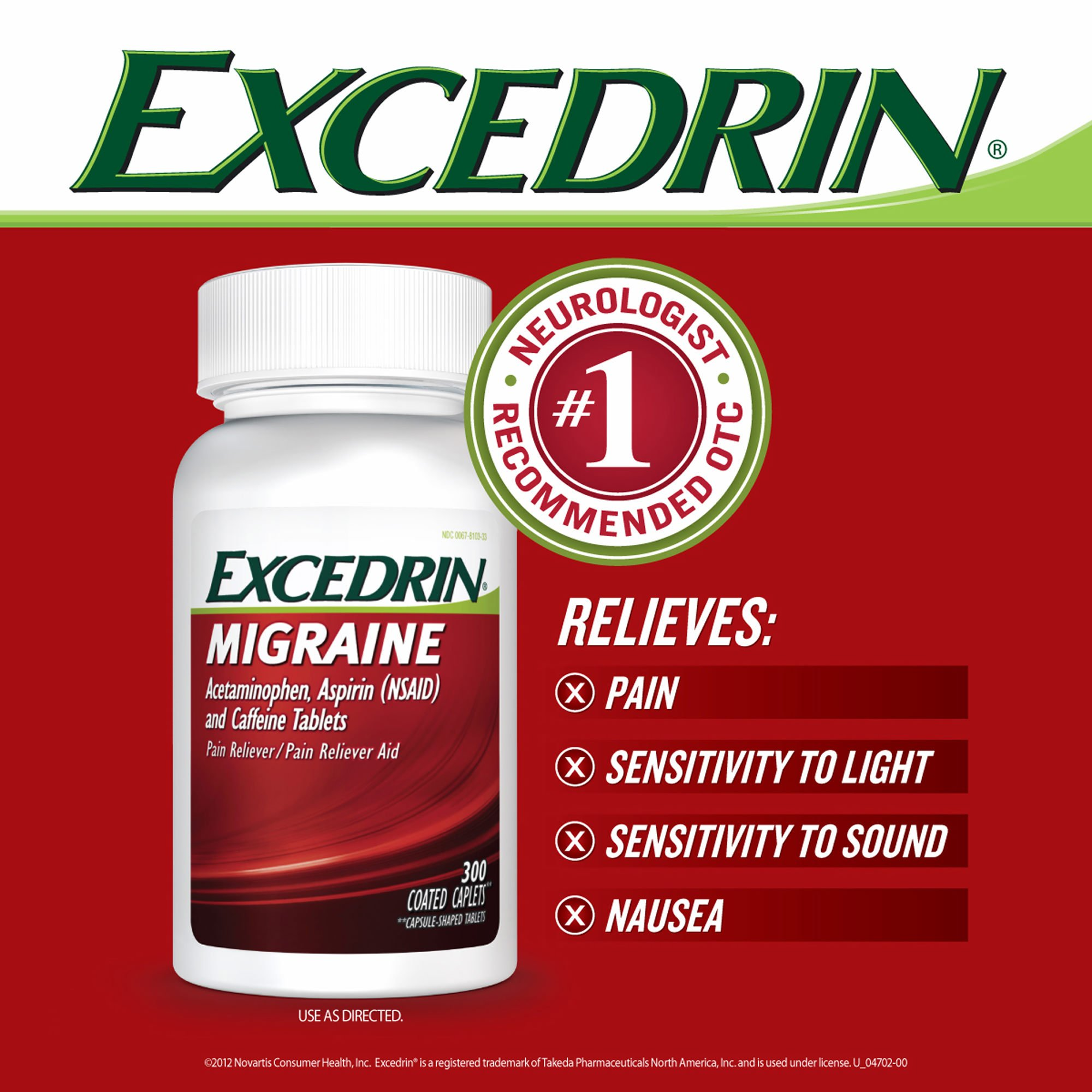 Excedrin Migraine Caplets, 300 ct. (pack of 6) by Excedrin