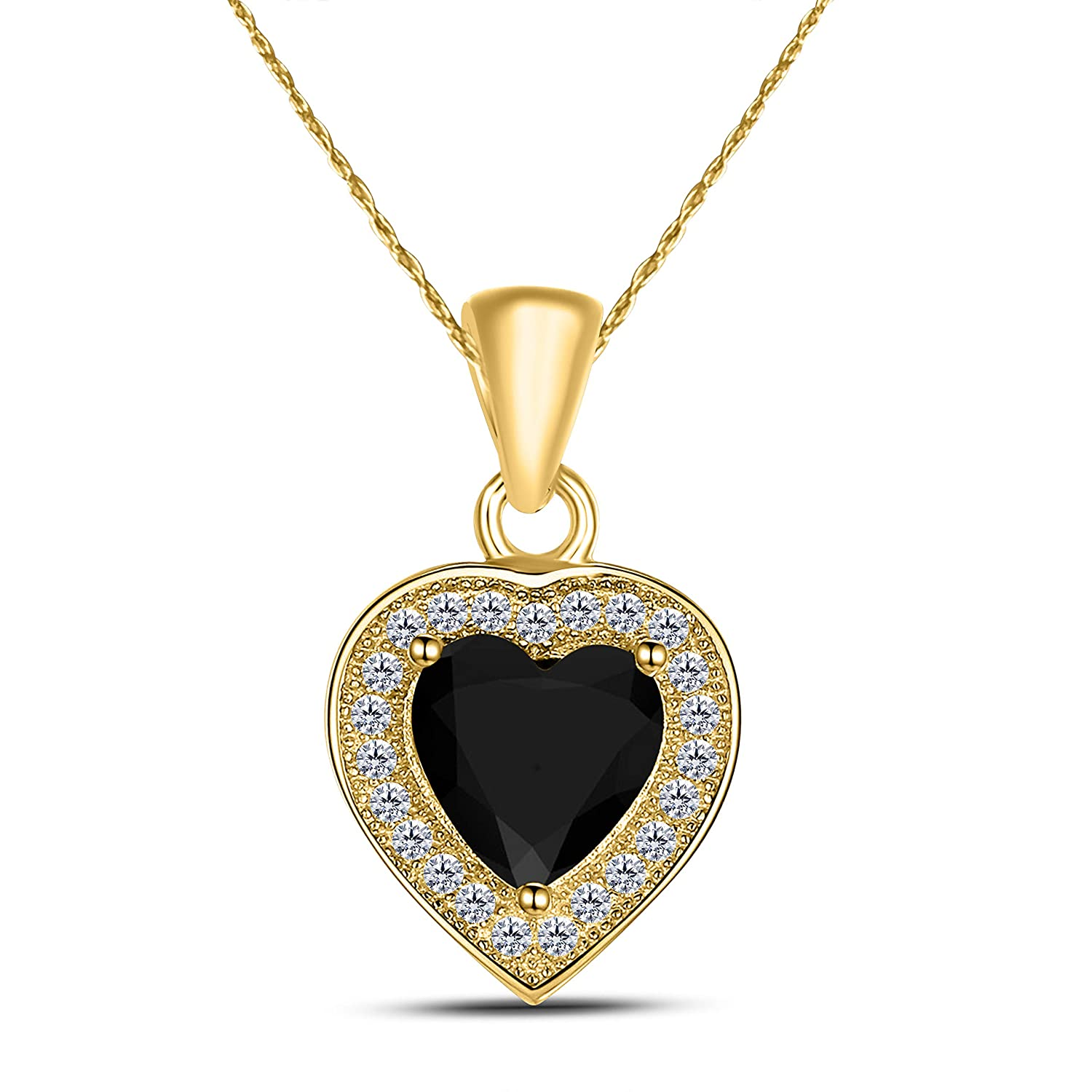 16+2 Ext. DreamJewels Valentine Gift Halo Style 1.00 ct Created Black Sapphire 14K Yellow Gold Plated Heart Solitare Pendant Necklace for Women 18